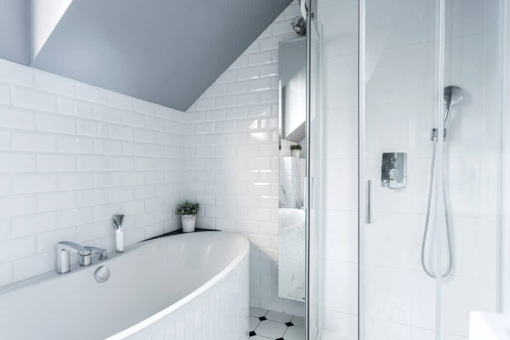 White tile bathroom remodeling